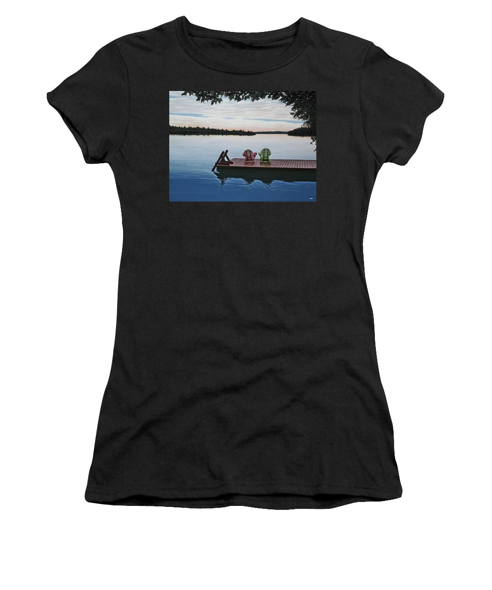 Landscapes Paintings Women's T-Shirt (Athletic Fit) featuring the painting Tranquility by Kenneth M Kirsch