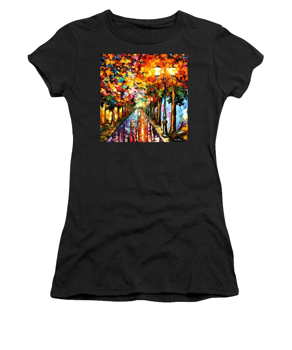 Afremov Women's T-Shirt featuring the painting Transformation Of The Night by Leonid Afremov