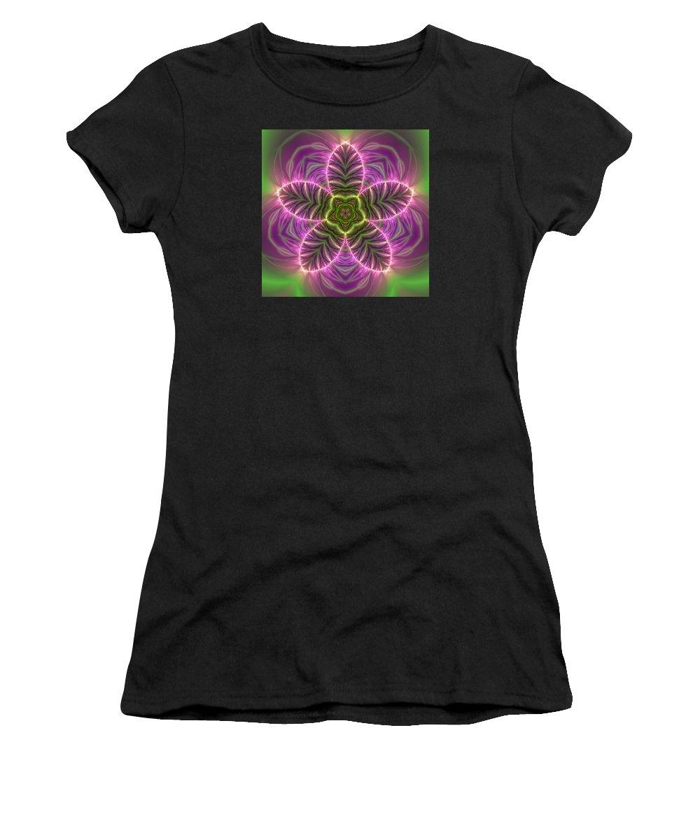 Mandala Women's T-Shirt featuring the digital art Transition Flower by Robert Thalmeier
