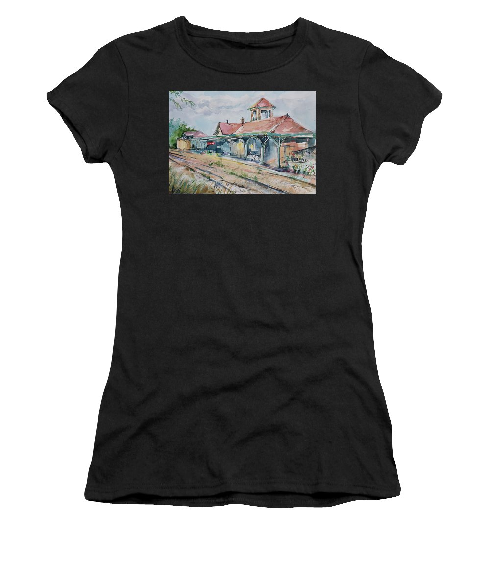 Train Women's T-Shirt (Athletic Fit) featuring the painting Traverse City Train Depot by Adam VanHouten