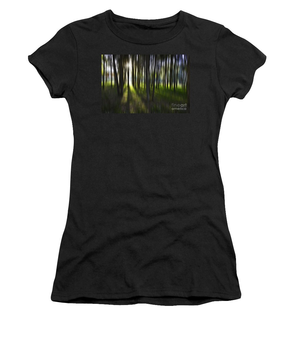Trees Abstract Tree Lines Forest Wood Women's T-Shirt (Athletic Fit) featuring the photograph Tree Abstract by Sheila Smart Fine Art Photography