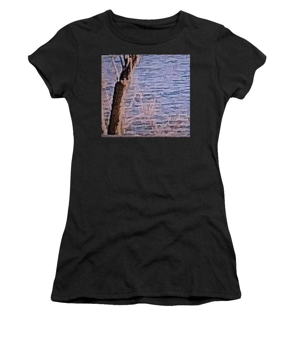 Lake Women's T-Shirt featuring the photograph Tree By The Lake by Catherine Tiller