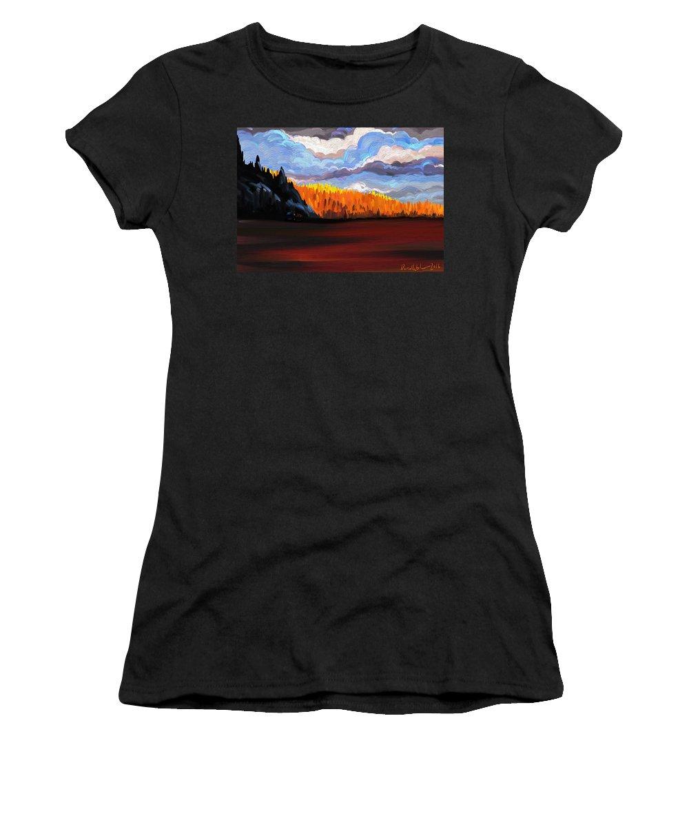 Sunset Women's T-Shirt featuring the digital art Tree Fall Camping by David Loblaw