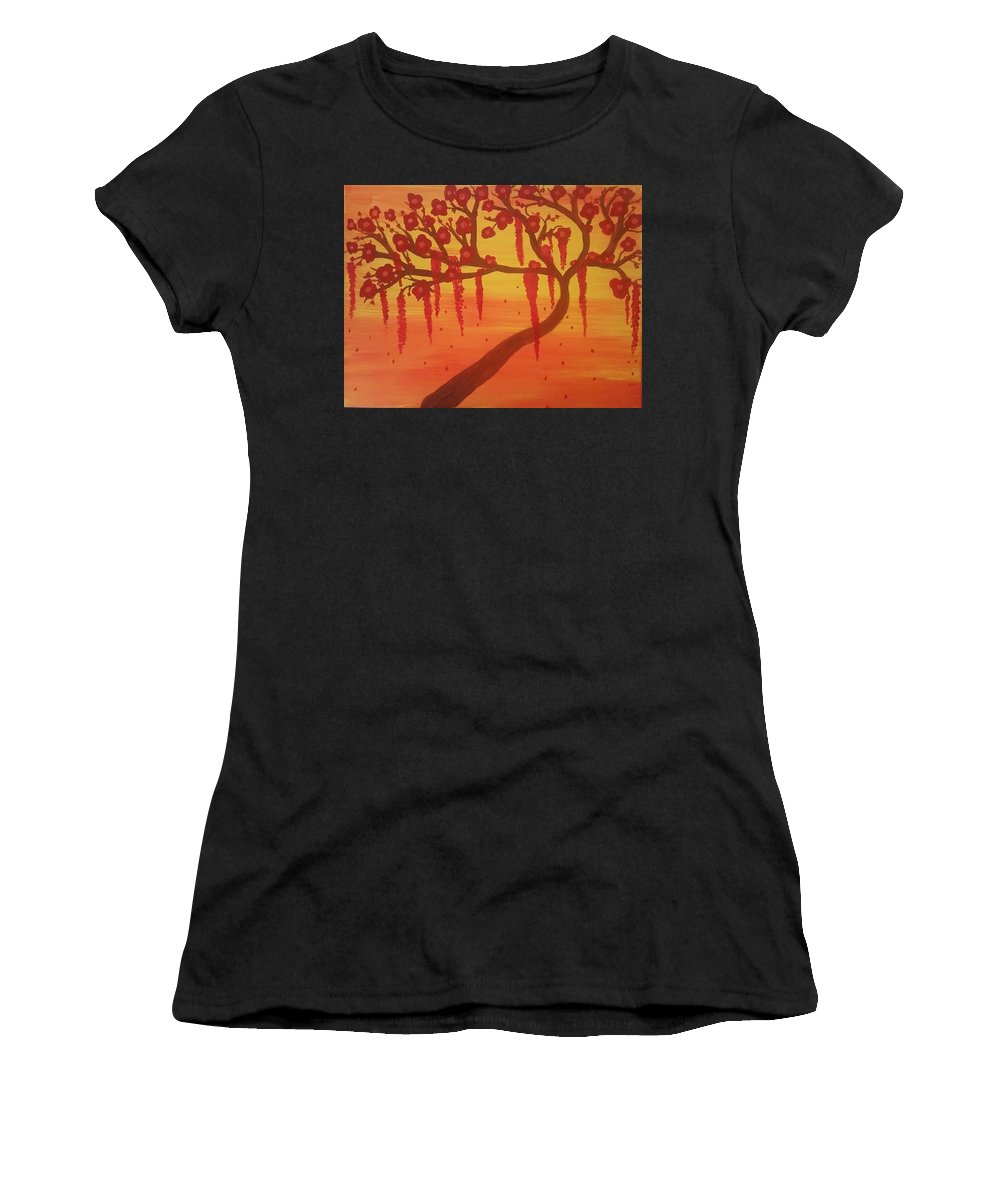 Tree Women's T-Shirt (Athletic Fit) featuring the painting Tree Of Desire by Vale Anoa'i
