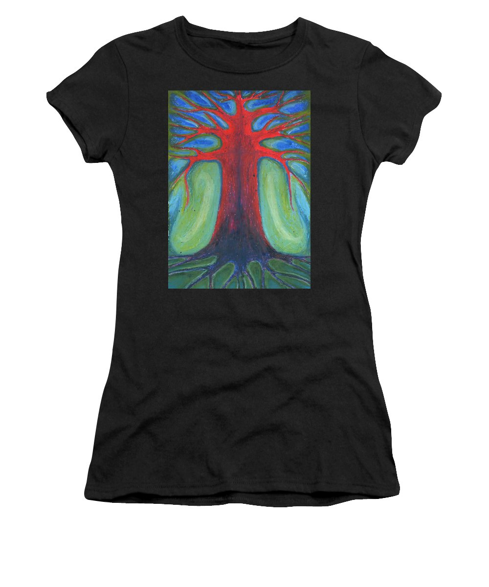 Colour Women's T-Shirt (Athletic Fit) featuring the pastel Tree Of Quiet by Wojtek Kowalski