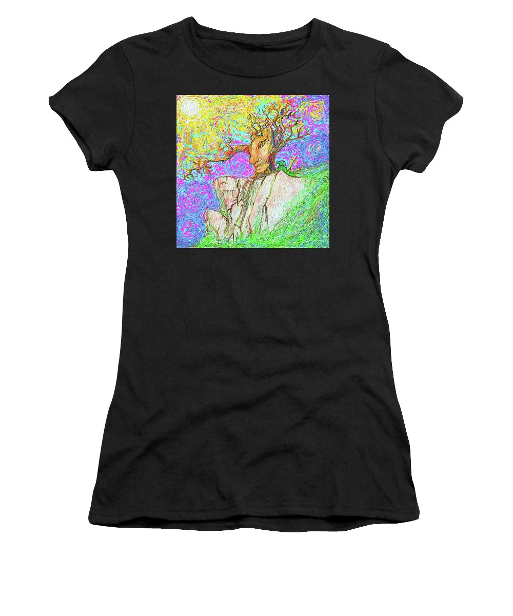 Impressionist Bright Taoist Women's T-Shirt featuring the painting Tree Touches Sky by Hidden Mountain and Tao Arrow