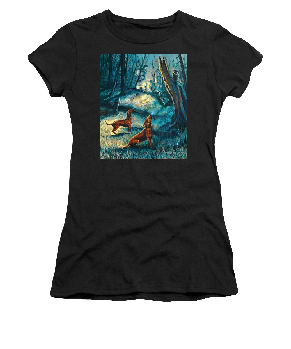 Acrylic Women's T-Shirt (Athletic Fit) featuring the painting Treed At Dawn by Suzanne McKee