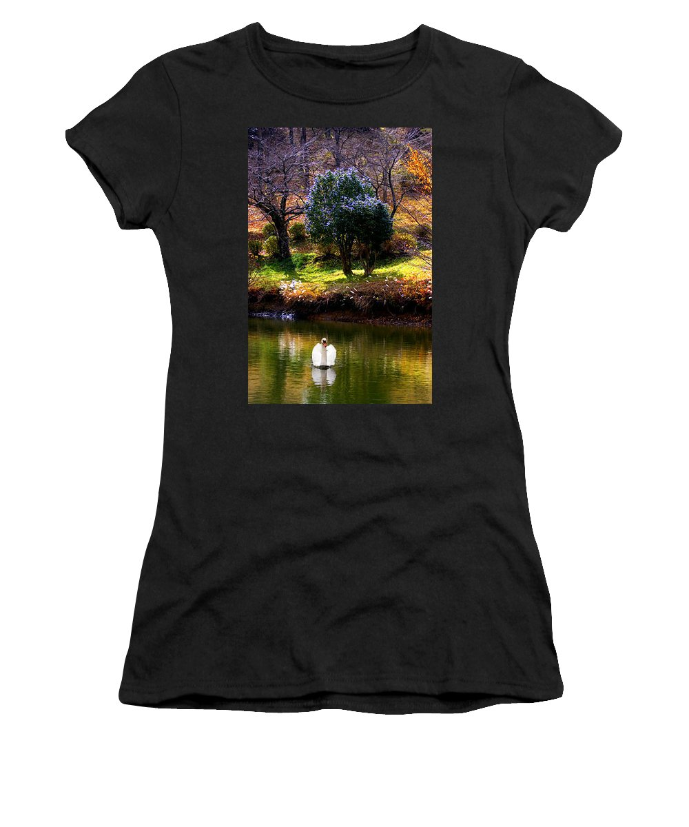 Swan Women's T-Shirt (Athletic Fit) featuring the photograph Trees In Japan 8 by George Cabig