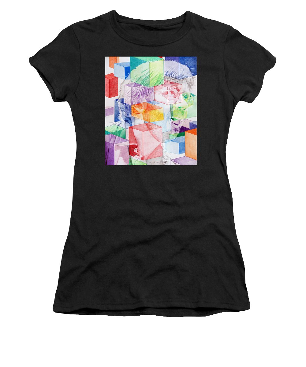 Trey Anastasio Women's T-Shirt (Athletic Fit) featuring the drawing Trey Anastasio-never Get Out Of This Maze by Joshua Morton