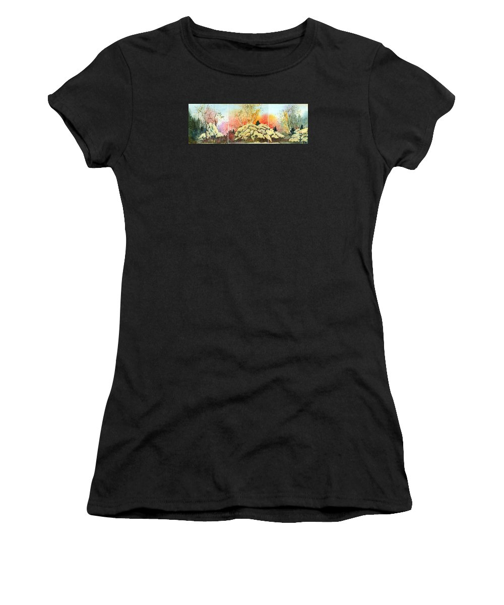 Landscape Women's T-Shirt (Athletic Fit) featuring the painting Triptych by Lynn Quinn