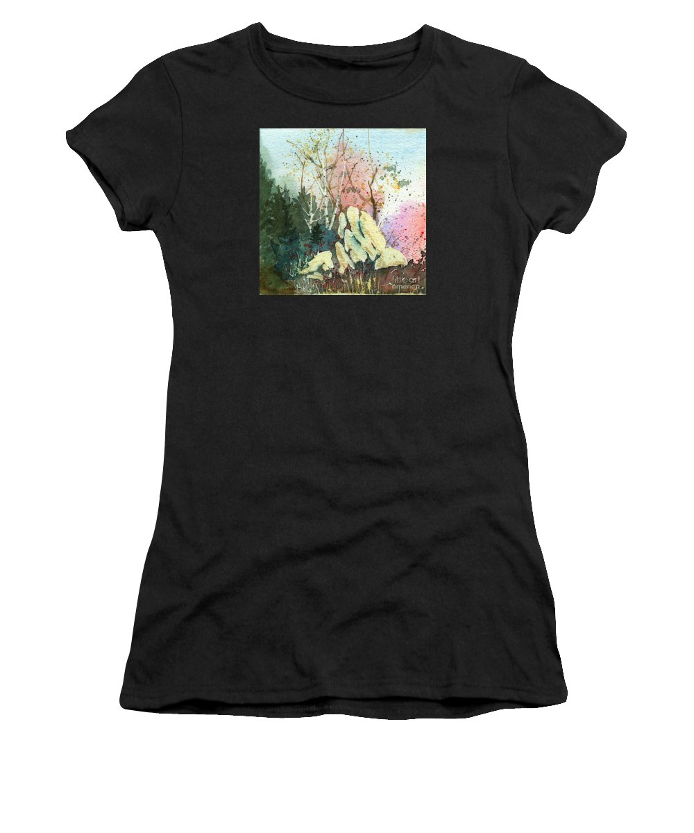 Landscape Women's T-Shirt featuring the painting Triptych Panel 1 by Lynn Quinn