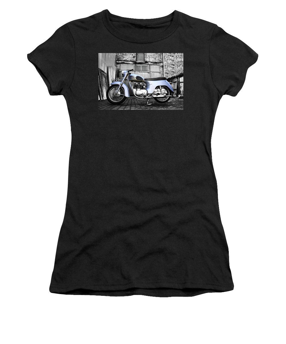 Motorcycle Women's T-Shirt (Athletic Fit) featuring the photograph Triumph Twenty One by Mark Rogan