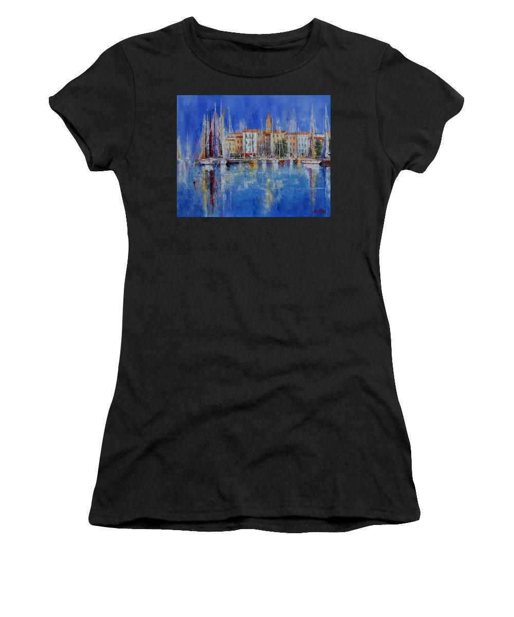 Ports Women's T-Shirt (Athletic Fit) featuring the painting Trogir - Croatia by Miroslav Stojkovic - Miro