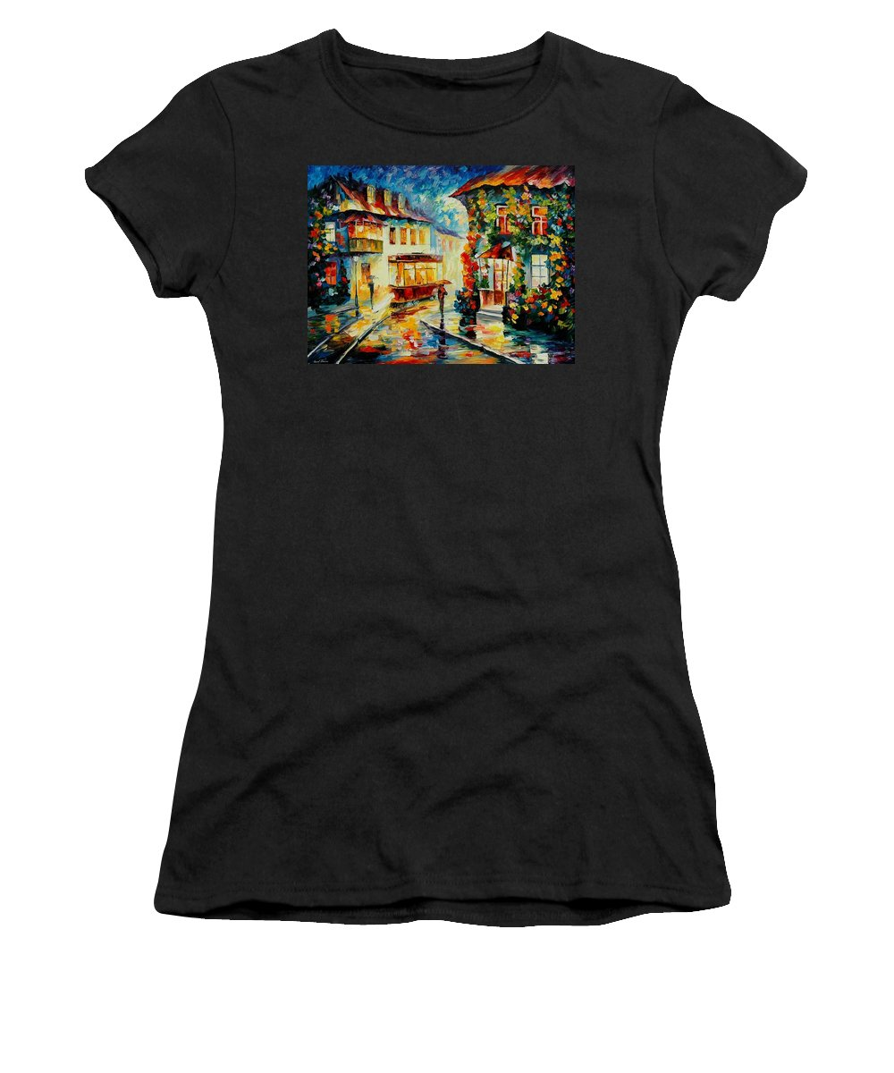 Afremov Women's T-Shirt featuring the painting Trolley by Leonid Afremov