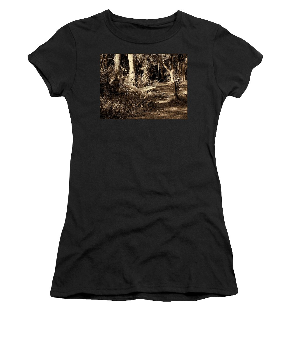 Hammock Women's T-Shirt (Athletic Fit) featuring the photograph Tropical Hammock by Susanne Van Hulst