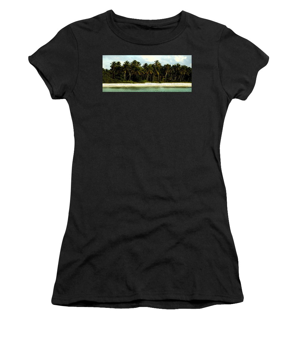Tropical Women's T-Shirt featuring the painting Tropical Island by David Lee Thompson