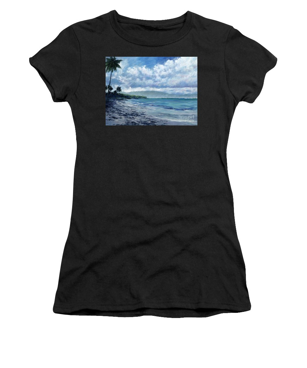 Seascape Women's T-Shirt (Athletic Fit) featuring the painting Tropical Rain by Danielle Perry