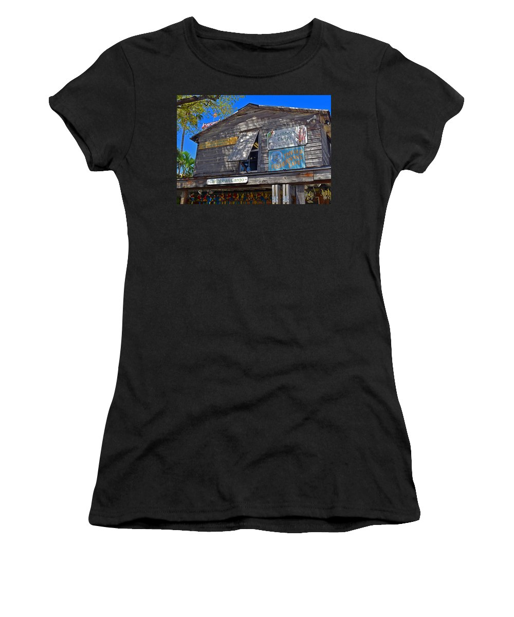 Architecture Women's T-Shirt featuring the photograph Tropical Shop by Maria Keady