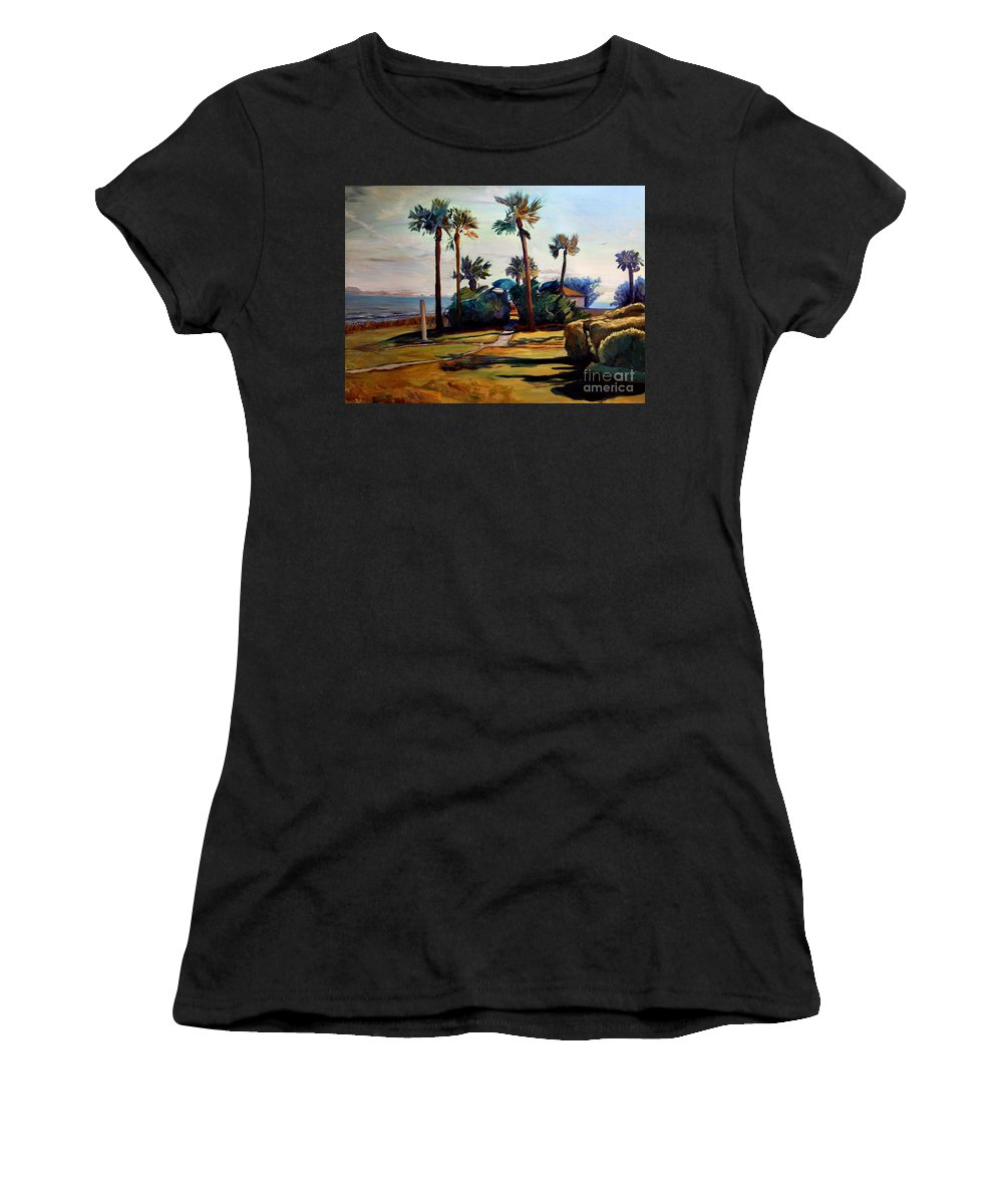 Painting Women's T-Shirt featuring the painting Tropical Sunshine by Maris Salmins