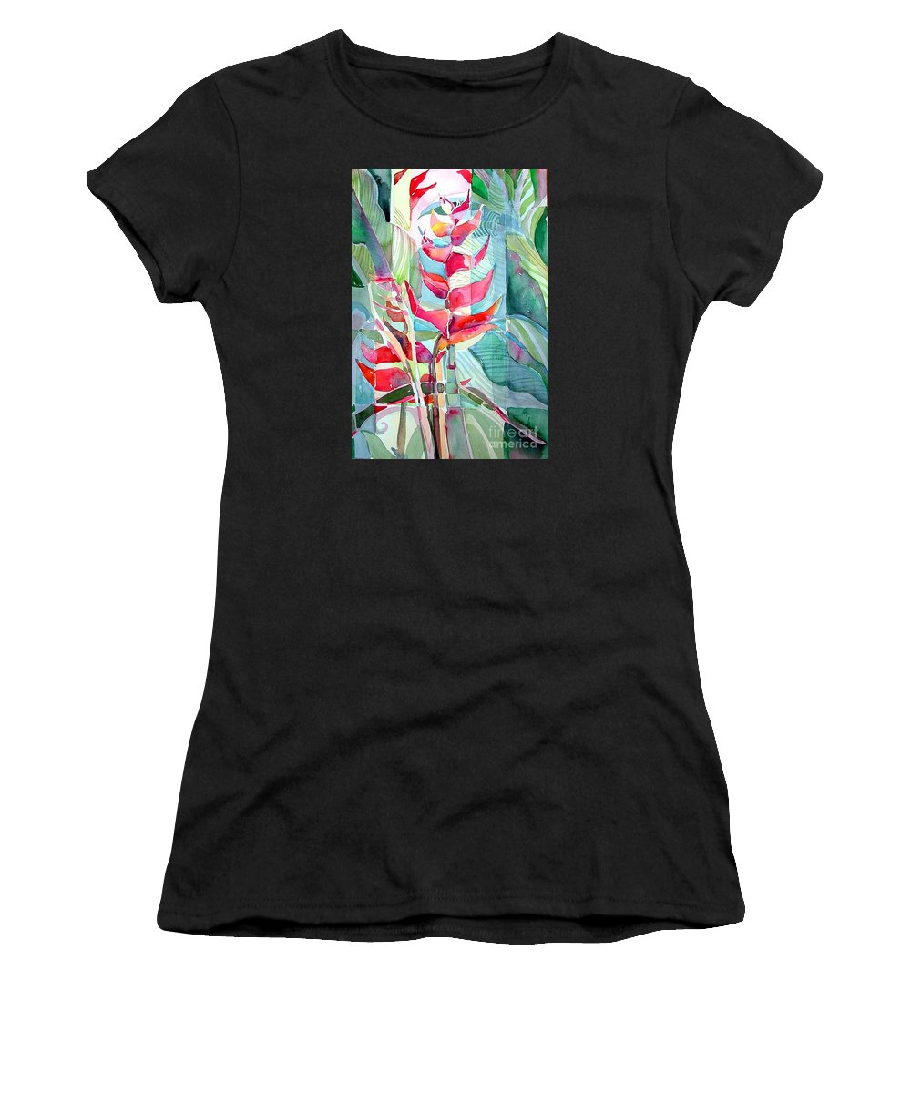 Landscape Women's T-Shirt featuring the painting Tropicana Red by Mindy Newman