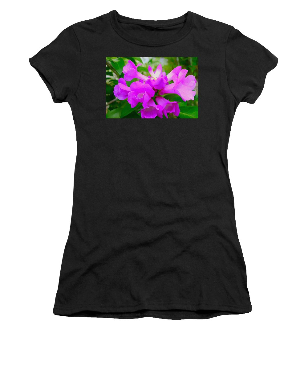 Background Women's T-Shirt featuring the painting Trumpet Flower 1 by Jeelan Clark