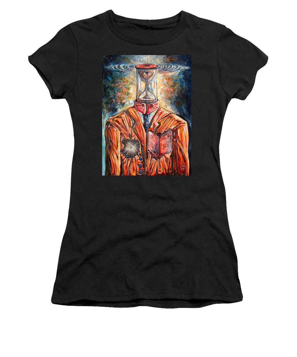 New Age Women's T-Shirt featuring the painting Truth Running Out Of Time by Darwin Leon