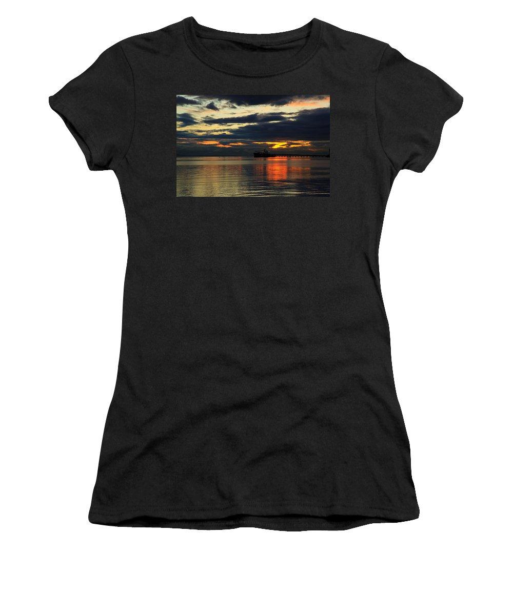 Sunset Women's T-Shirt featuring the photograph Tsawassen Sunset by Monte Arnold