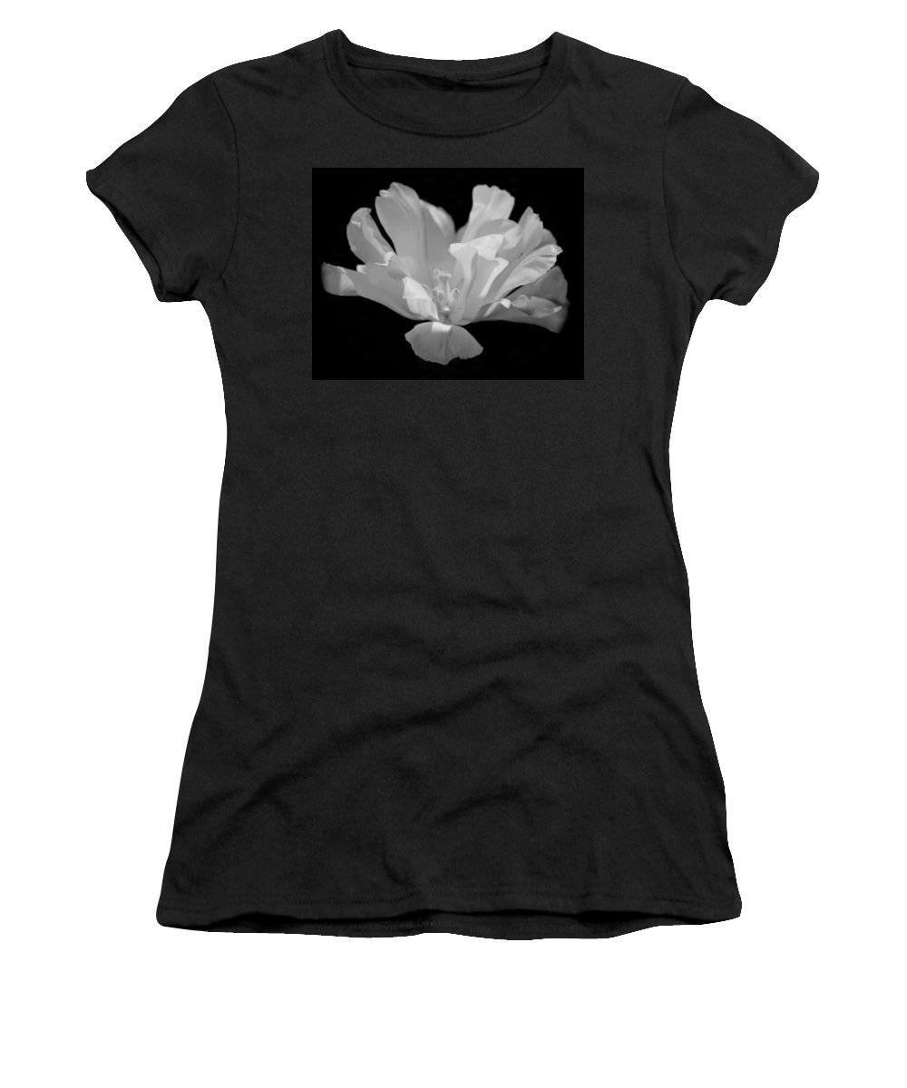 Tulip - Bw Women's T-Shirt (Athletic Fit) featuring the photograph Tulip - Bw by Maria Urso
