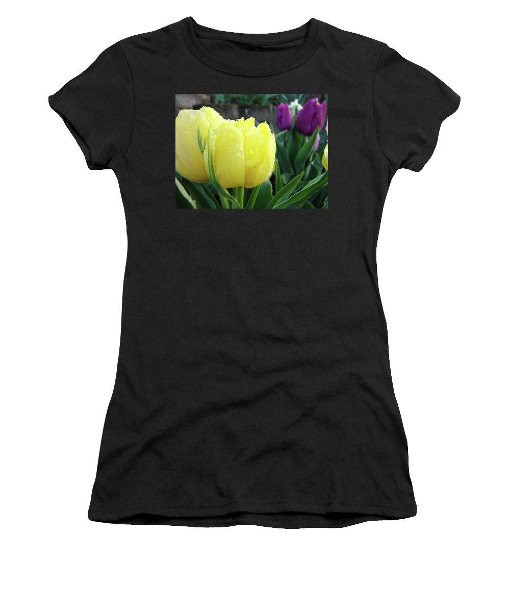 �tulips Artwork� Women's T-Shirt (Athletic Fit) featuring the photograph Tulip Flowers Artwork Tulips Art Prints 10 Floral Art Gardens Baslee Troutman by Baslee Troutman