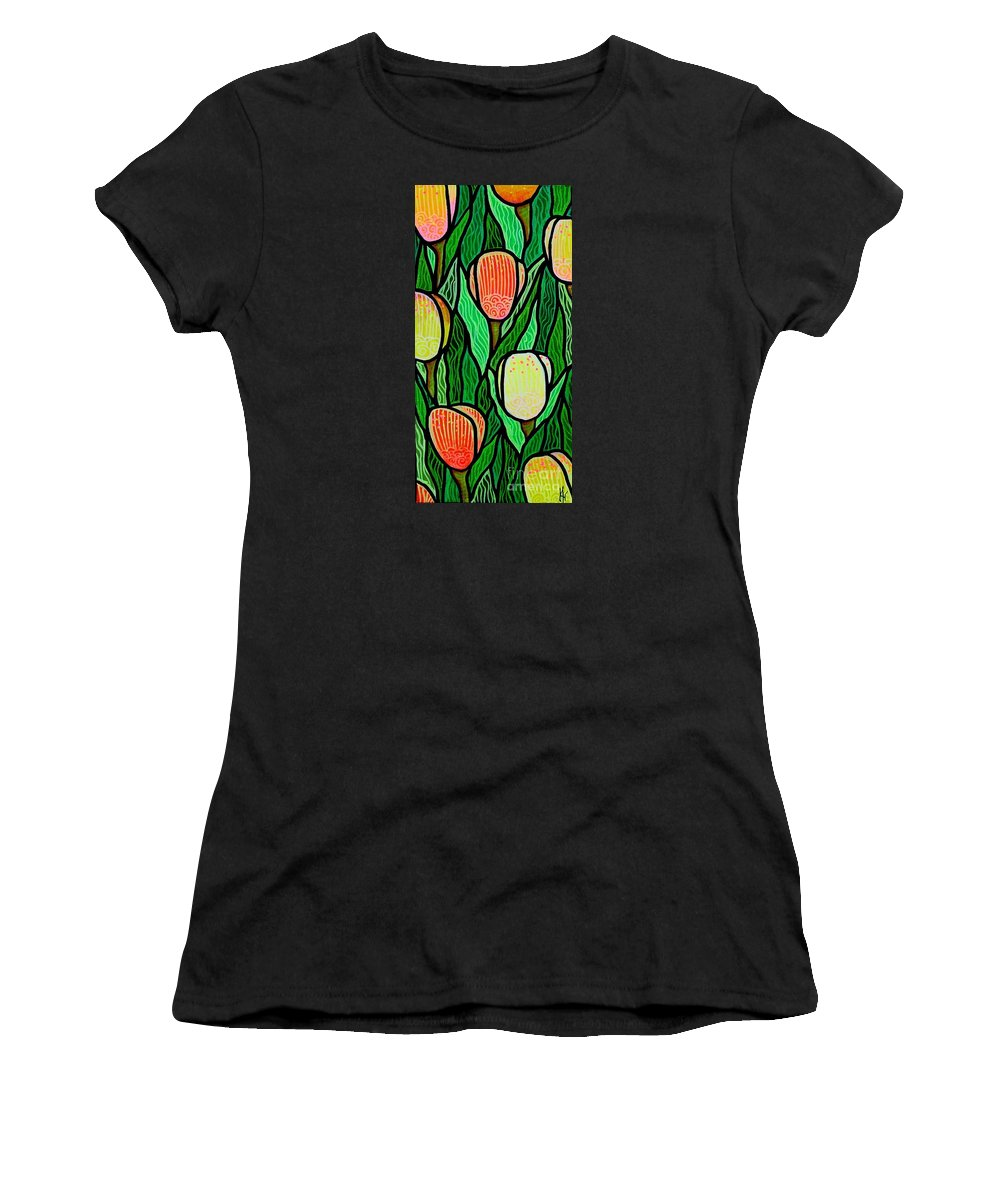 Tulips Women's T-Shirt (Athletic Fit) featuring the painting Tulip Joy 2 by Jim Harris