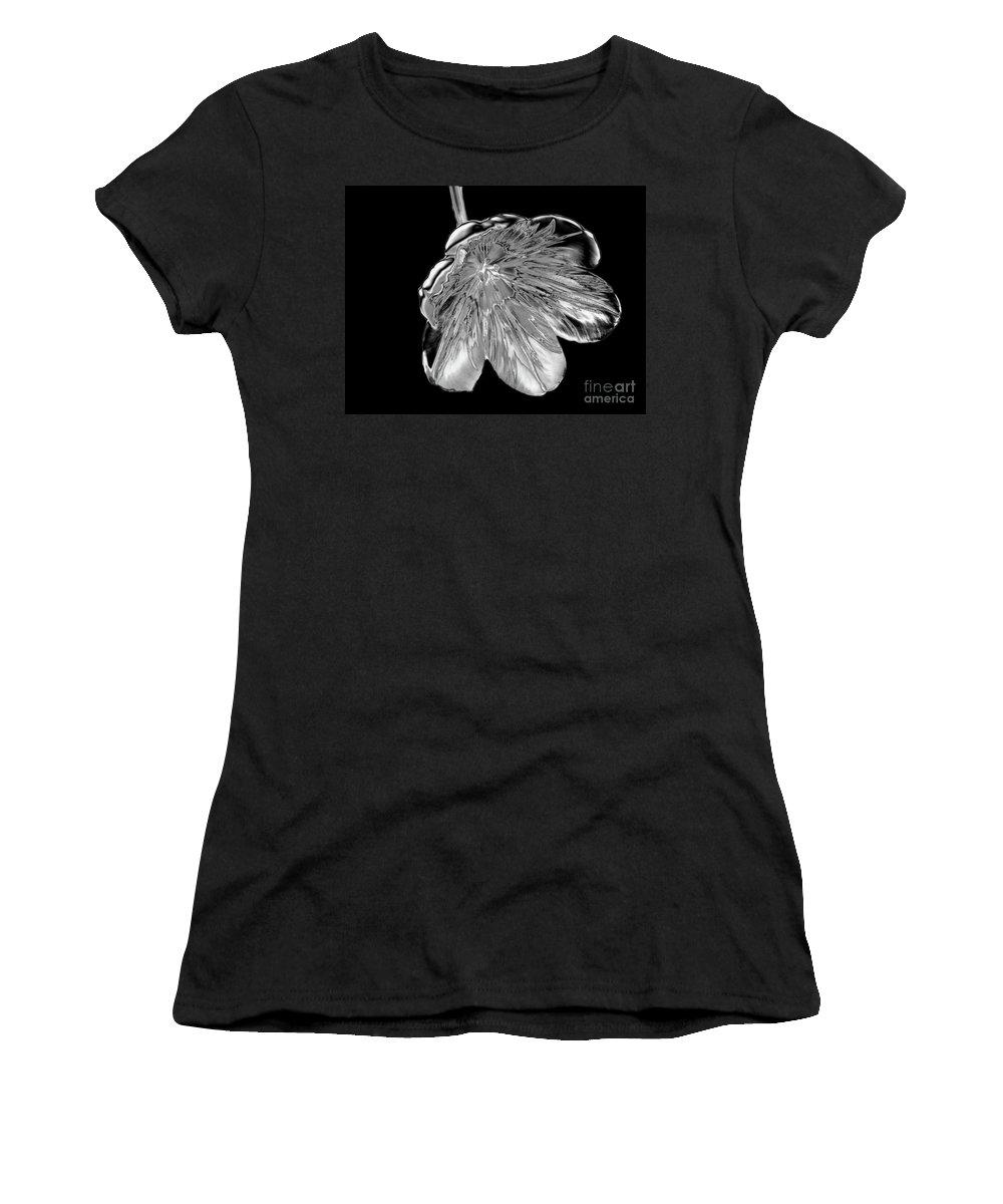 Tulip Women's T-Shirt featuring the photograph Tulip Liquid Metal by Elaine MacKenzie