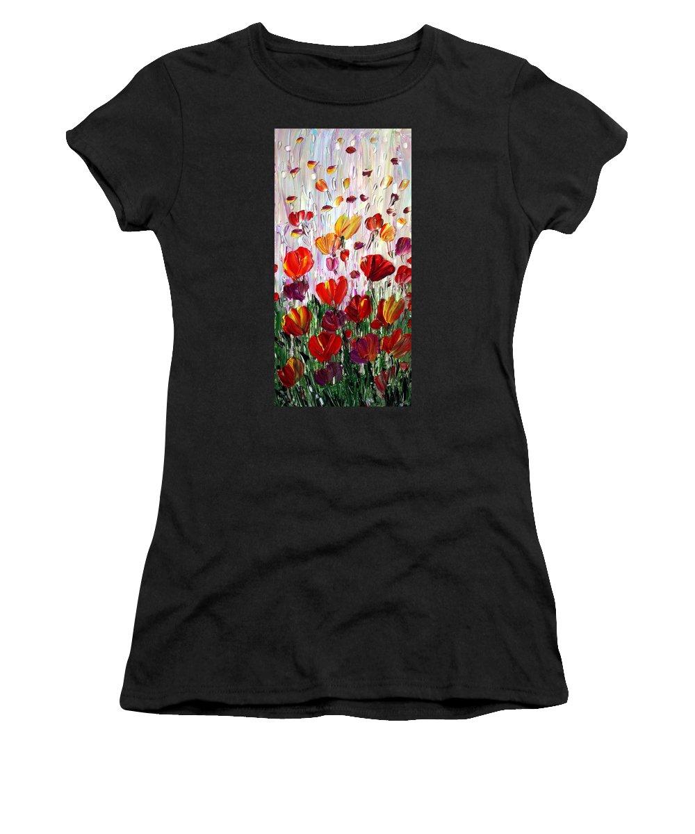 Flowers Women's T-Shirt featuring the painting Tulips Flowers Garden Seria by Luiza Vizoli