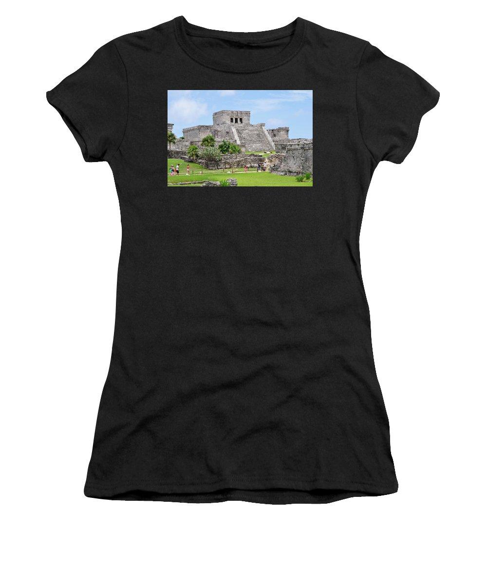 Tulum Women's T-Shirt featuring the photograph Tulum Ruins  by Glenn Gordon