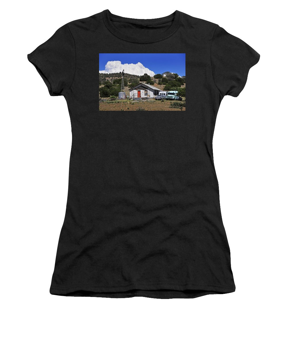 Skip Hunt Women's T-Shirt (Athletic Fit) featuring the photograph Turquoise Bus by Skip Hunt