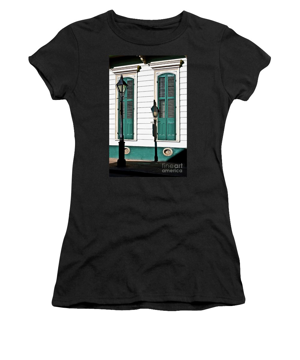 Lamp Post Women's T-Shirt featuring the photograph Turquoise Shutters by Frances Hattier