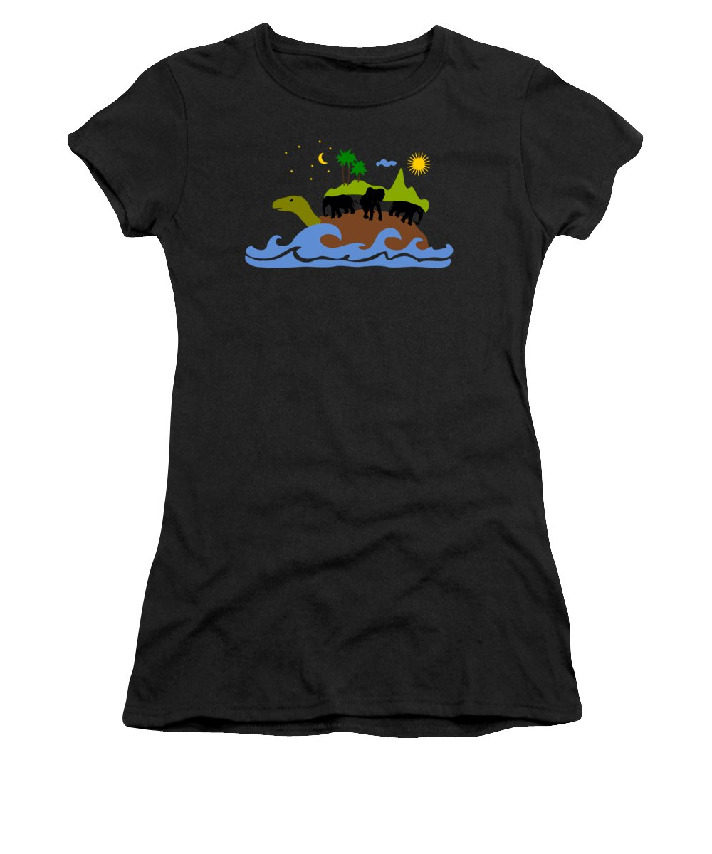 Expression Women's T-Shirt featuring the mixed media Turtles All The Way Down by Anastasiya Malakhova