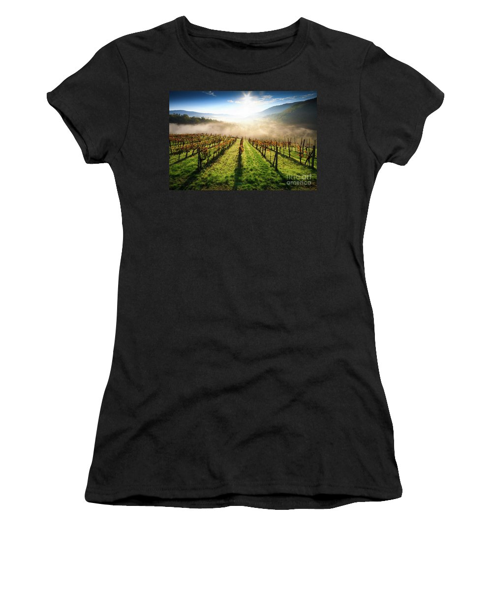 Hill; Italian; Foggy; Sunrise; Fog; Agriculture; Autumn; Italy; European; Leaf; Tuscan; Vine; Vineyard; Morning; Wine; Countryside; Color; Sunset; Scenic; Chianti; Nature; Europe; Tuscany; Landscape; Greve Women's T-Shirt (Athletic Fit) featuring the photograph Tuscan Sunrise by Alessandro Landi
