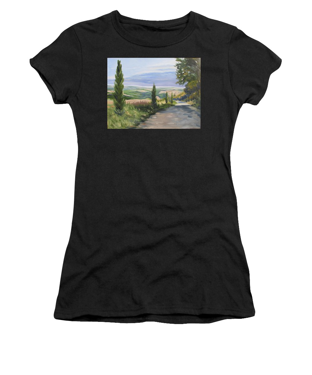 Landscape Women's T-Shirt (Athletic Fit) featuring the painting Tuscan Walk by Jay Johnson