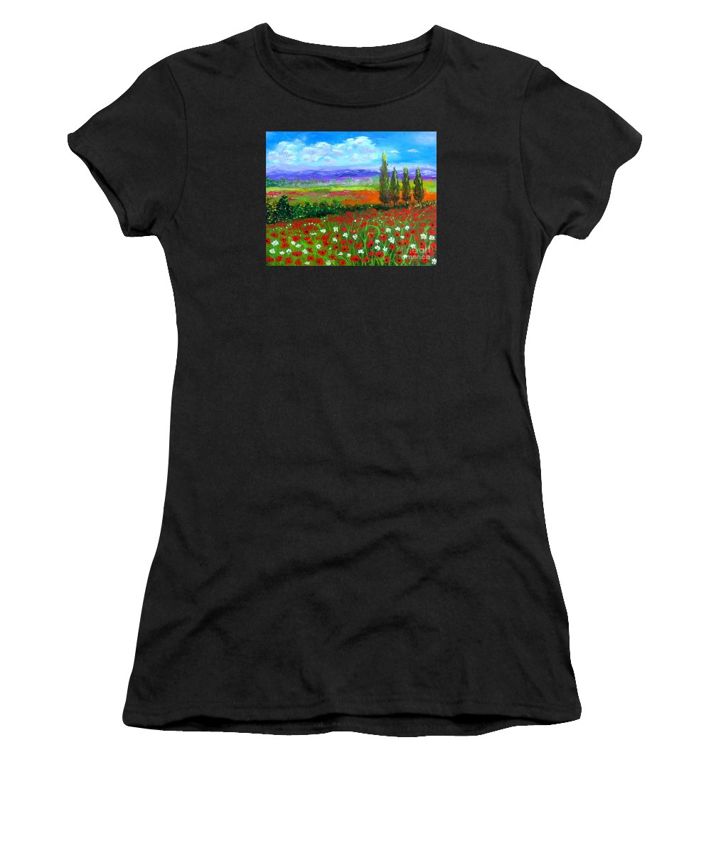 Tuscany Women's T-Shirt (Athletic Fit) featuring the painting Tuscany Poppies Field by Inna Montano