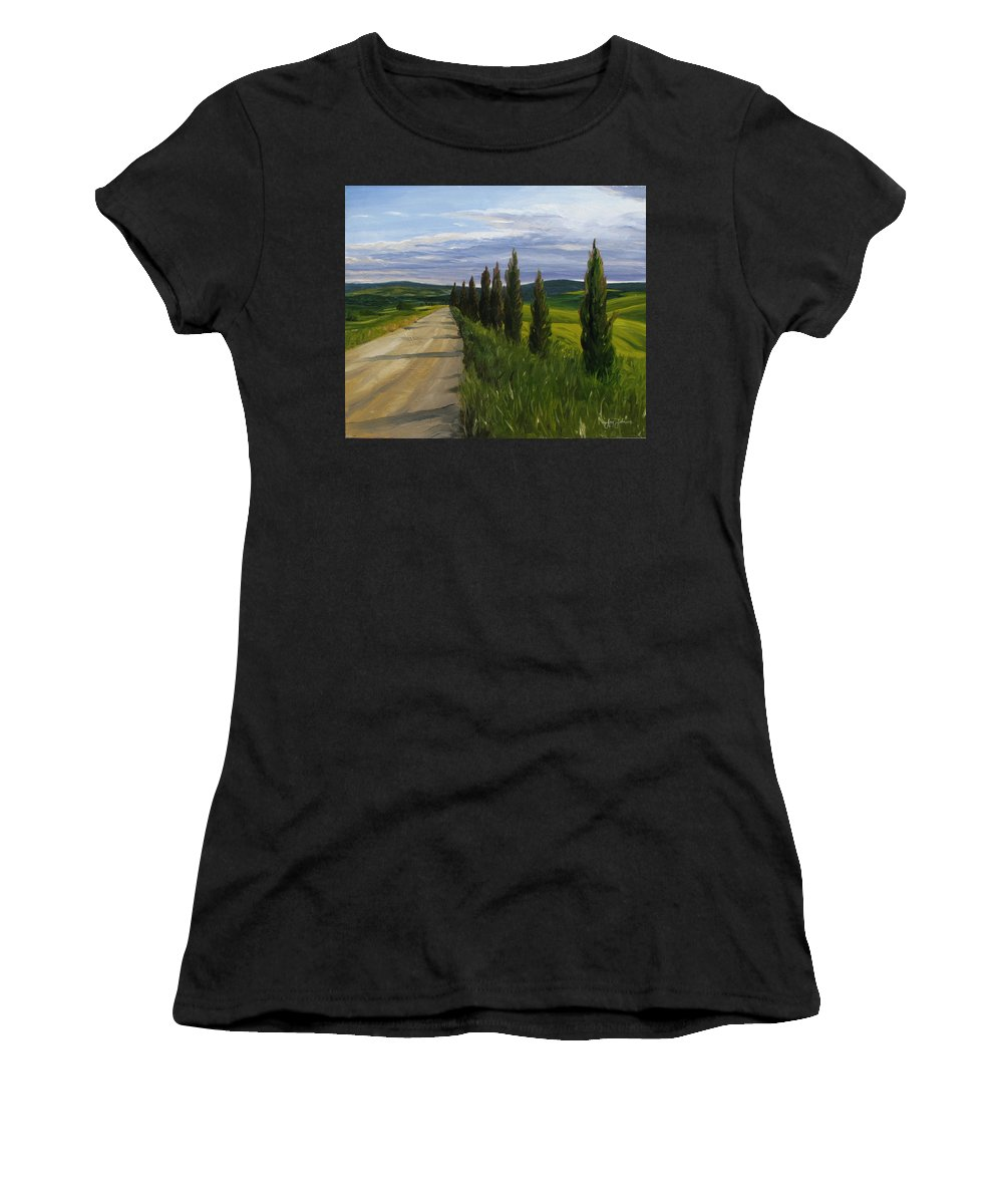 Women's T-Shirt (Athletic Fit) featuring the painting Tuscany Road by Jay Johnson