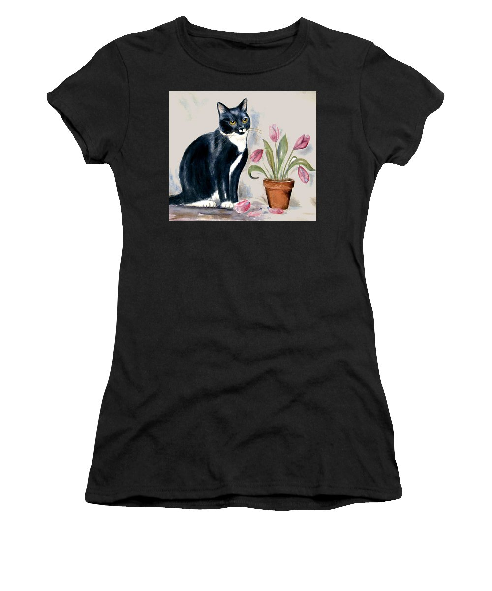 Cat Women's T-Shirt featuring the painting Tuxedo Cat Sitting By The Pink Tulips by Frances Gillotti