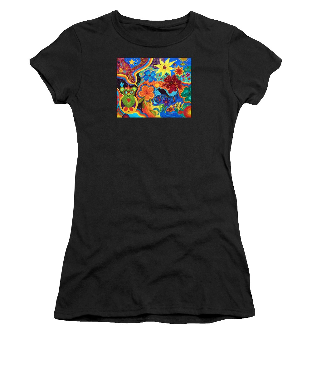 Abstract Women's T-Shirt (Athletic Fit) featuring the painting Bluebird Of Happiness by Marina Petro