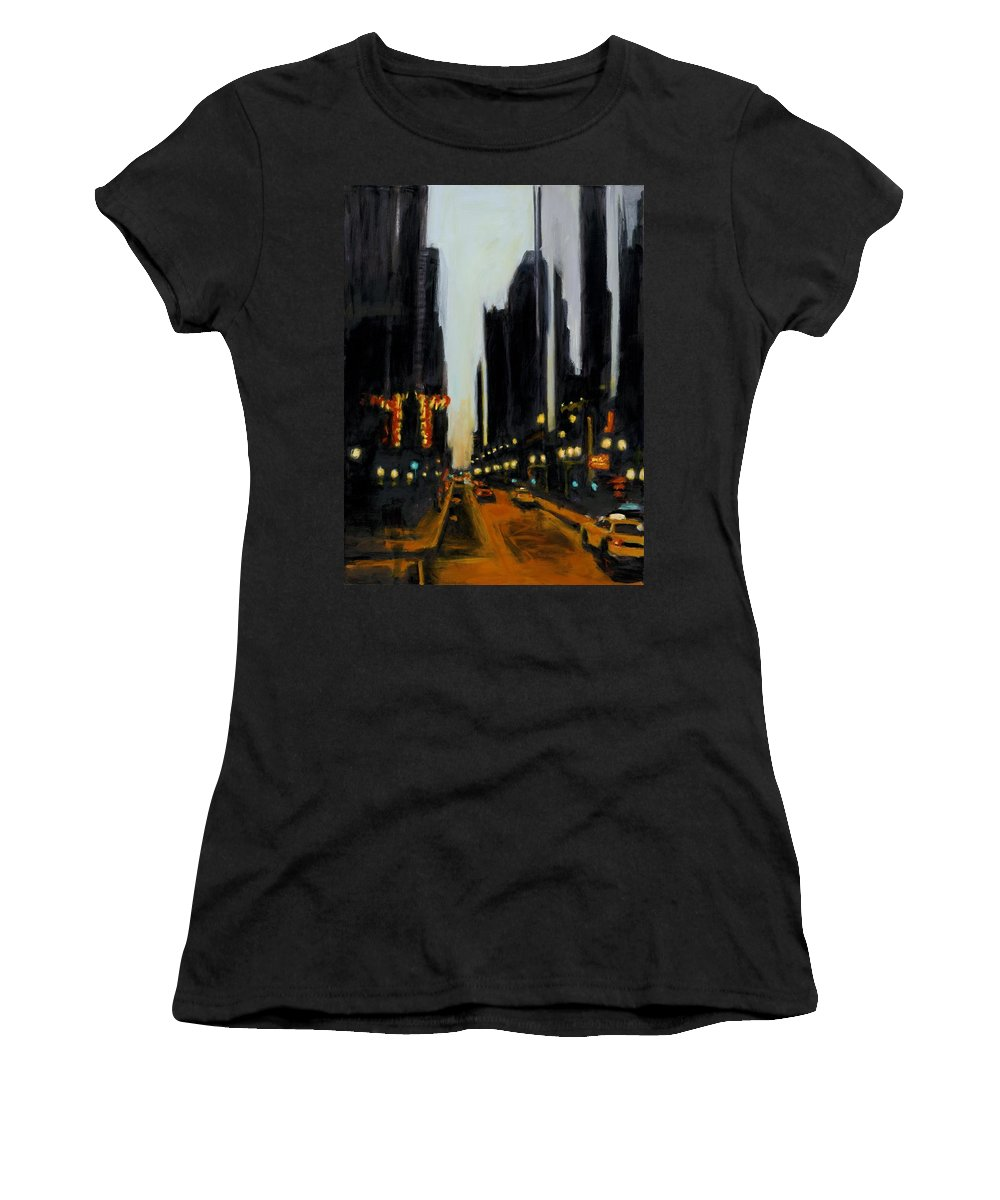 Rob Reeves Women's T-Shirt (Athletic Fit) featuring the painting Twilight In Chicago by Robert Reeves