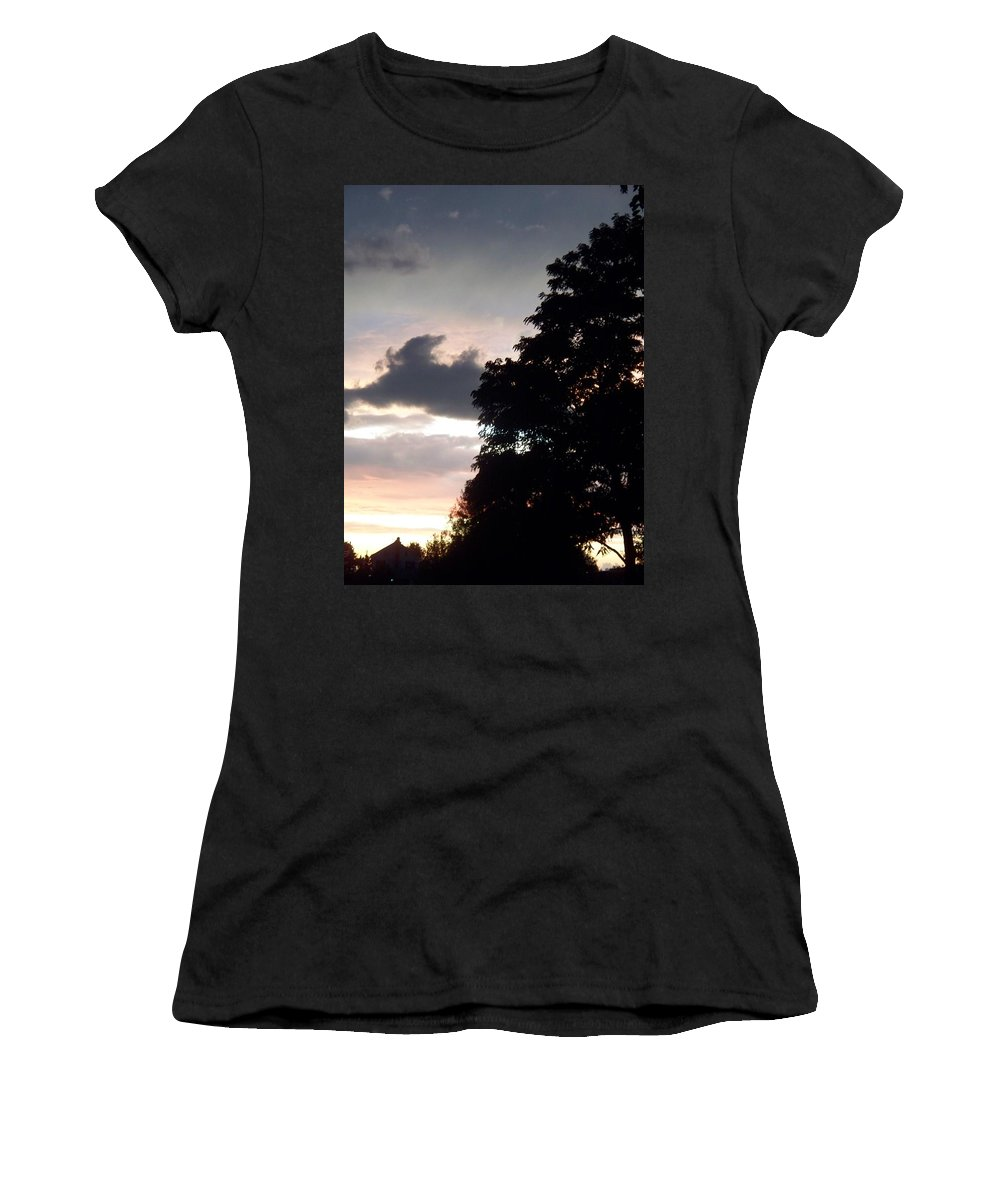 Twilight Women's T-Shirt (Athletic Fit) featuring the painting Twilight Landscape by Eric Schiabor
