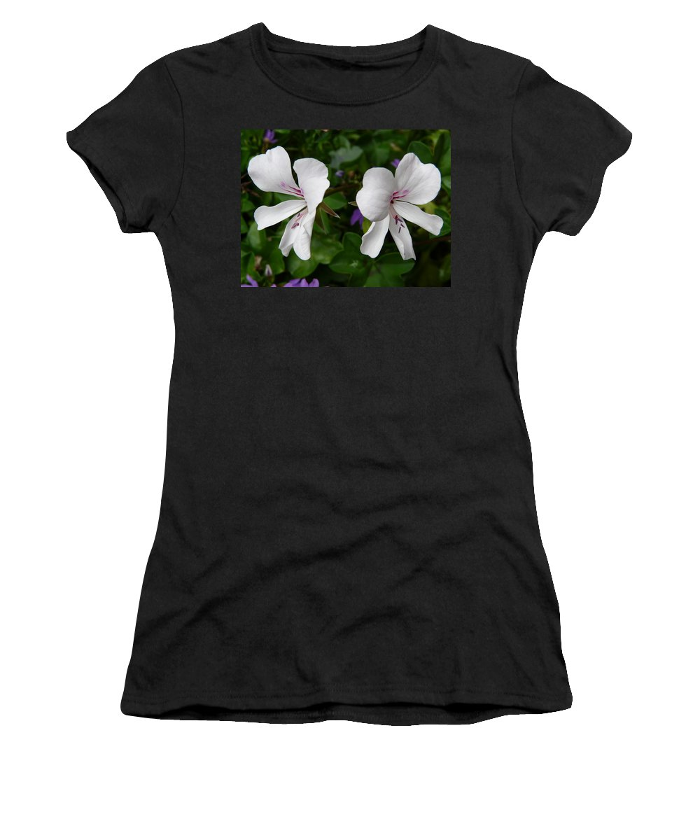 Plant Women's T-Shirt (Athletic Fit) featuring the photograph Twin Flowers by Valerie Ornstein