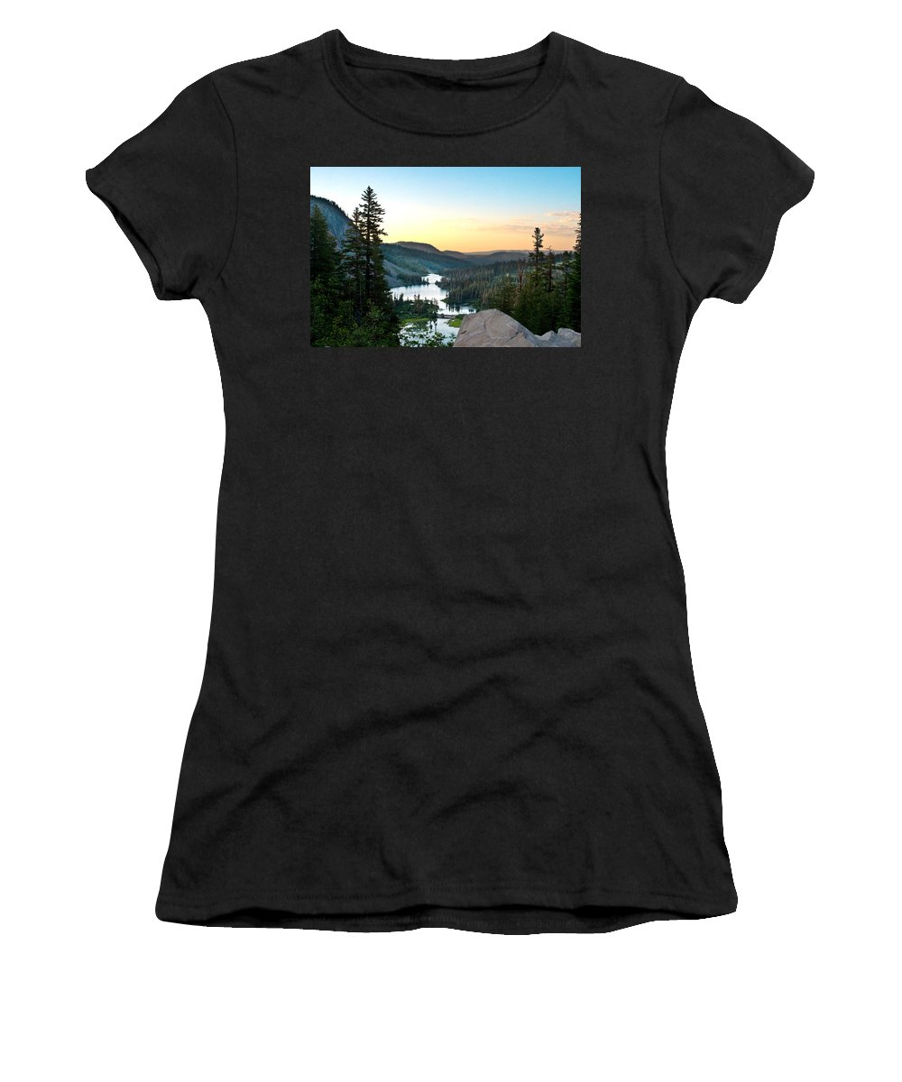 Twin Lakes Women's T-Shirt (Athletic Fit) featuring the photograph Twin Lakes by Chris Brannen