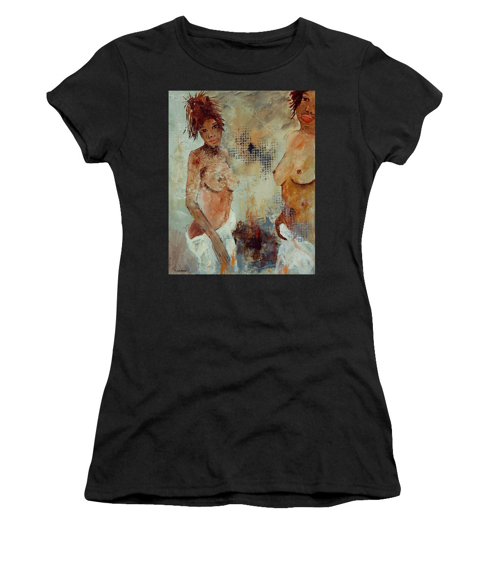 Girl Nude Women's T-Shirt (Athletic Fit) featuring the painting Two Black Sisters by Pol Ledent