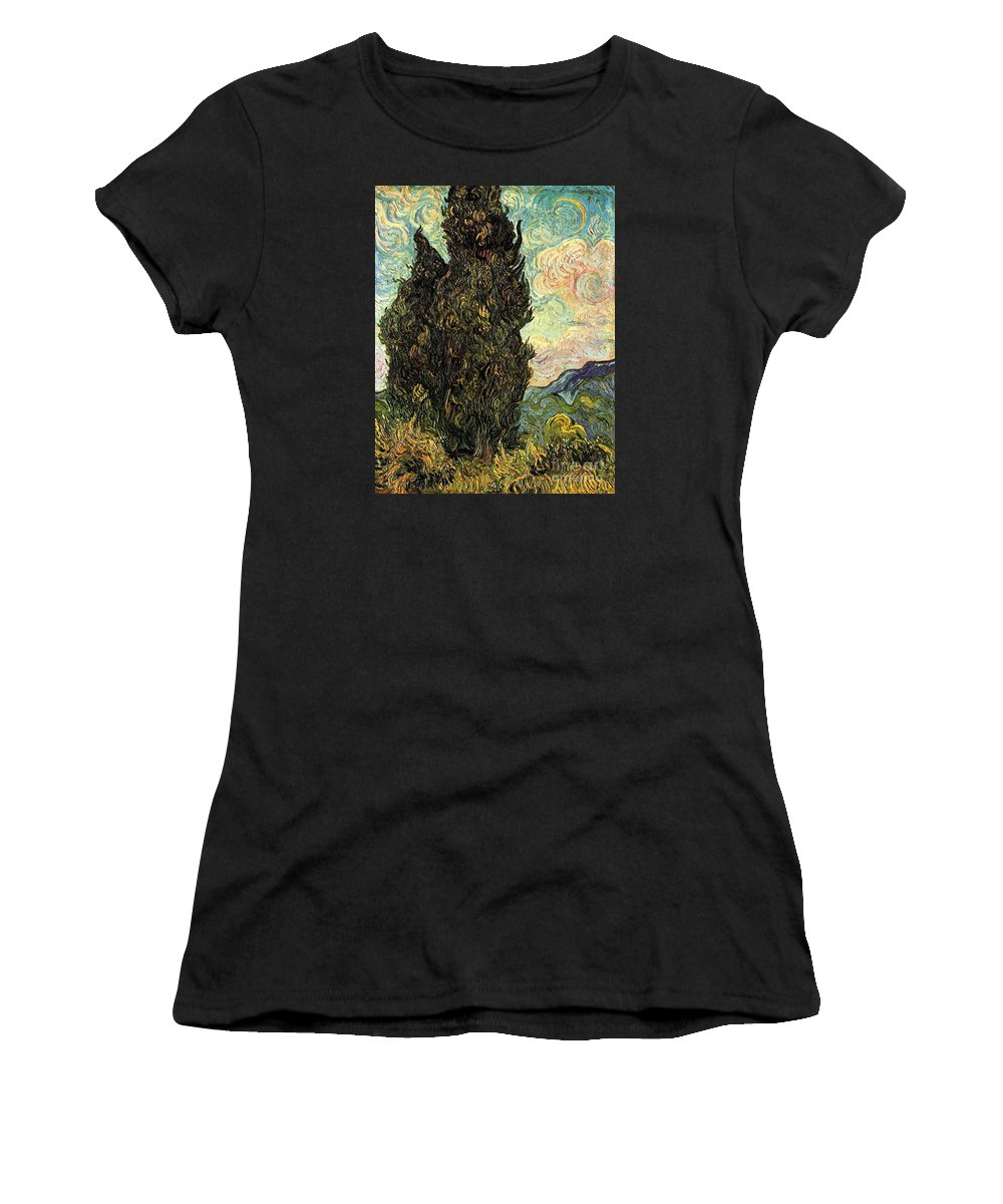 Master Artists Women's T-Shirt (Athletic Fit) featuring the painting Two Cypresses by Van Gogh