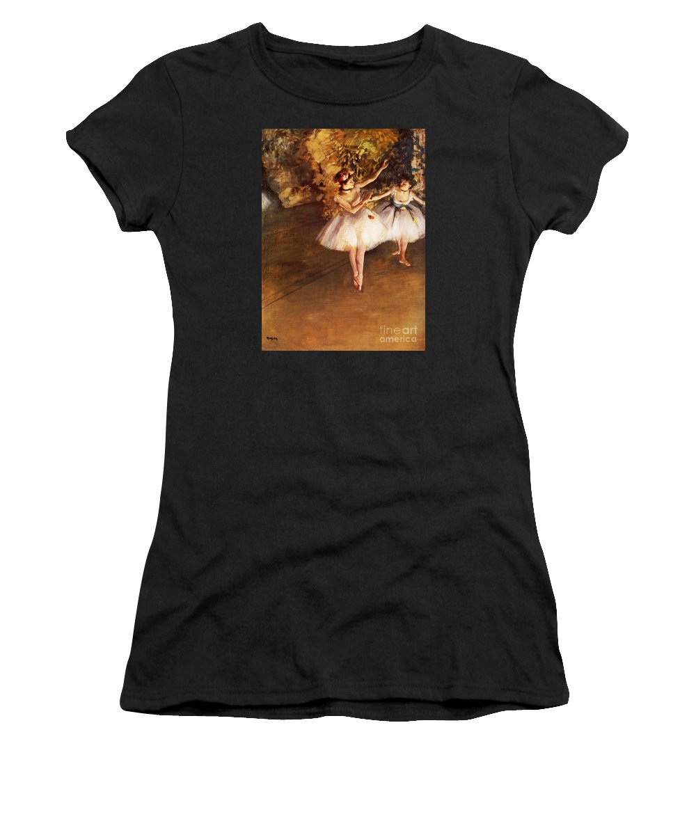 Master Artists Women's T-Shirt (Athletic Fit) featuring the painting Two Dancers On Stage by Degas