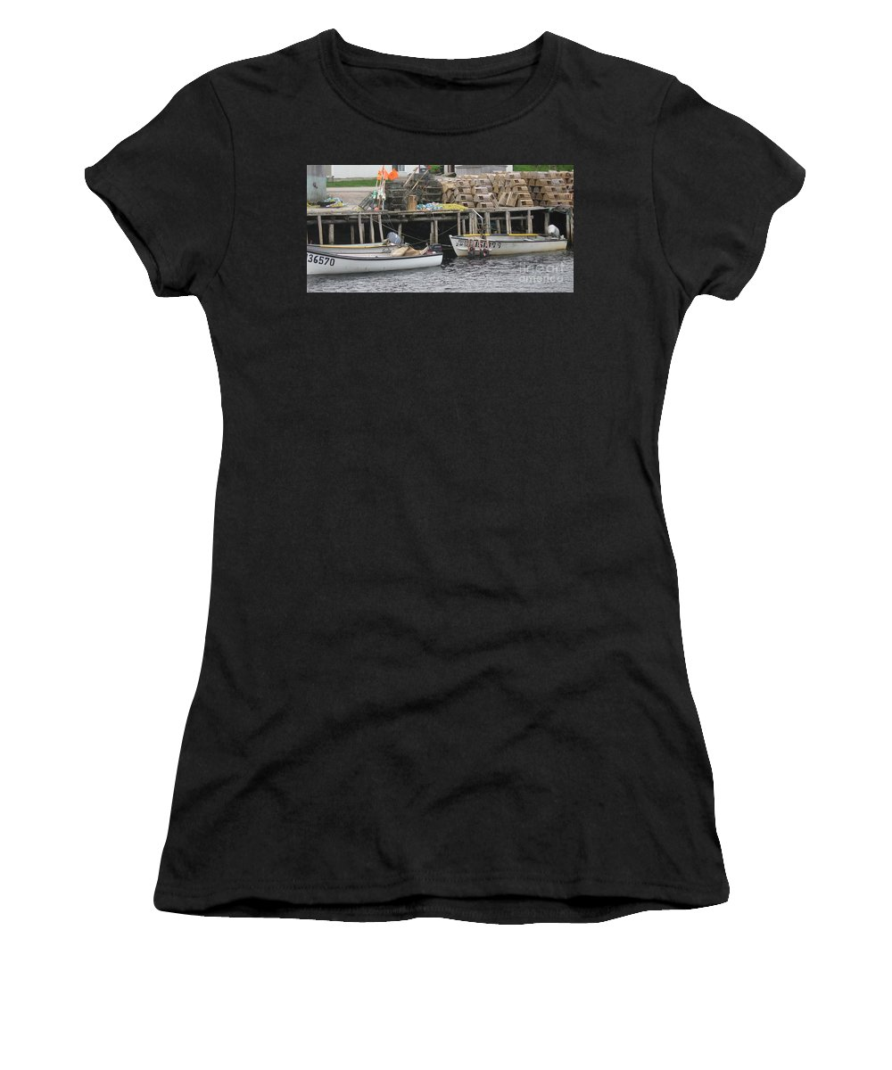 Photograph Atlantic Ocean Water Sea Swimming Girl Summer Newfoundland Bonnebay Boat Lobster Women's T-Shirt (Athletic Fit) featuring the photograph two girls swimming in the Atlantic Ocean by Seon-Jeong Kim